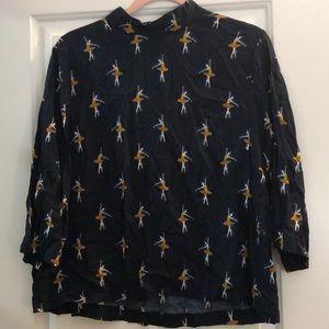 Mockneck patterned blouse